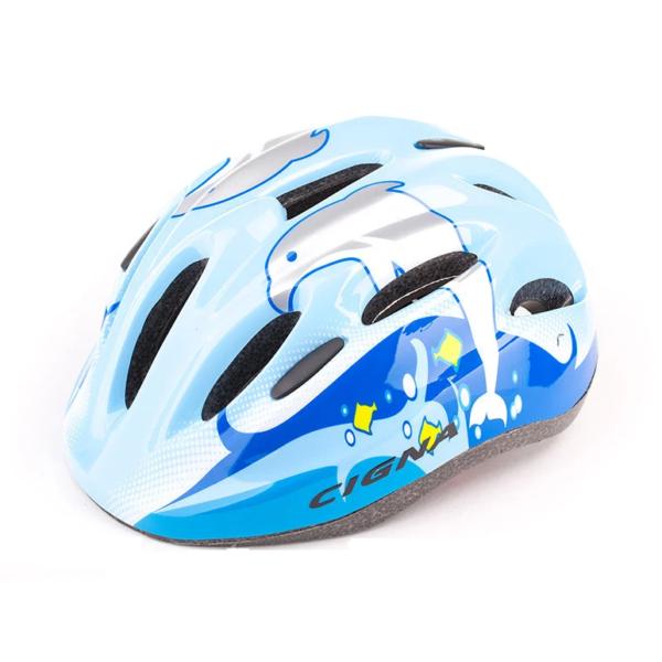 Шлем велосипедный детский Cigna WT-024 чёрный голубой